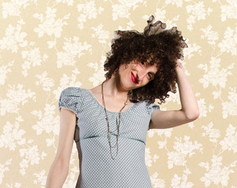 Dress Bio-Melisende of blue-grey organic cotton with white dots