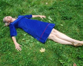 Dress BIO-Beltaine: organic cotton, fine-corduroy, blue