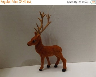 Sale Dollhouse Miniature Fairy Garden Animal Deer Miniature Deer Mini Flocked Buck Deer with Antlers