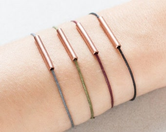 Minimal Copper Tube Bracelet - Minimalistic Bracelet - Copper Tube - black/green/raspberry/grey - Simple Minimal Design - Friendship