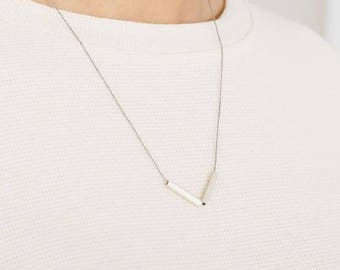 Square Tube V Necklace - sterling silver tube necklace - v silver necklace - simple minimal design -