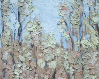 Palette knife painting, small painting, original oil painting, autumn painting, forest painting, landscape painting, texture painting