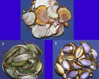 Real Seashell Fashion Jewelry ~ Pendent/Charm ~ Necklace/Bracelet ~ Gold/Copper Trim ~ Sold In Sets Of (2 Each) ~ FREE SHIPPING ~