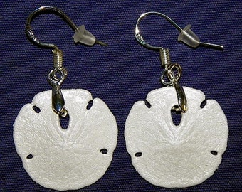 """Genuine dangle Sand Dollar Earrings 1""""/27mm.  Stainless Fishhook Style ear wire~ Sealed/Coated/Painted ~  Sold per Pair. ~FREE SHIPPING~"""
