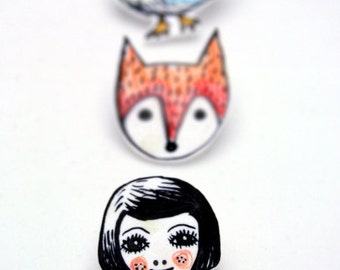 Girl Shrink Plastic brooch