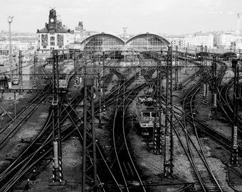 Prague Train, Train Tracks Print, Praha photography, Train Photography, Train decor, 8 X 10 print, Czech, bedroom art, Fine Art Photo, b&w