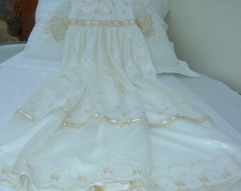 """A Beautiful Ivory Embroidered Lace  Christening Gown """"Grace"""""""