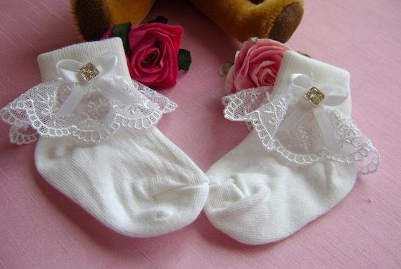 Bebé Niñas Blanco Rosa Bautizo Fiesta Volantes Calcetines ** ** hecha a mano 4 Tamaños