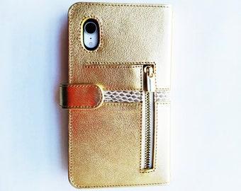 iPhone xs MAX leather case, Funda-cartera para iPhone xs MAX, leather case-wallet. iPhone xs Max cover. Handmade. Mod. Idole