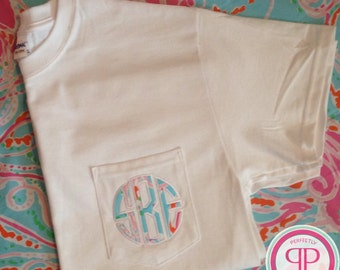 Lilly Pulitzer Monogrammed Short Sleeve Shirt - Pocket Tee - Adult Applique Tshirt