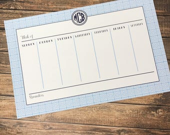 Monogrammed/Personalized Weekly Desk Calendar - 2 sizes