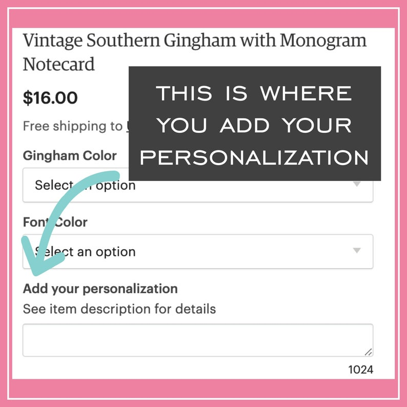 Vintage Southern Gingham with Bow and Monogram Hanging Gift Tag