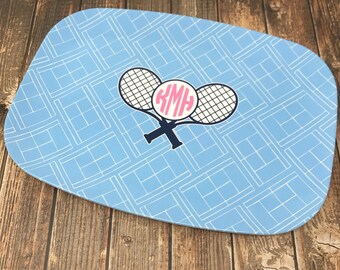 Personalized Monogrammed Melamine Tennis Platter