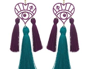 Iridescent Glitter Snake Eye Perspex with neon Tassel Earrings