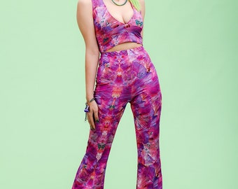 Forest Of Dreams Lycra Flares. 70's, wide leg, high waisted. psychedelic pattern trousers, perfect for outfits, parties, festivals