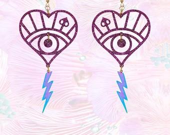 Purple Petrol Lightening Bolt Tassel Earrings