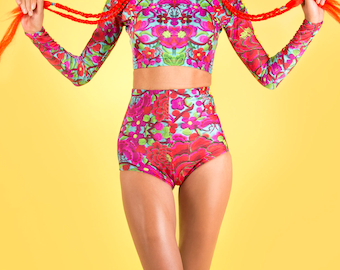 Folklorico Lycra festival high waisted shorts hot pants in Blue, pink red Printed Lycra