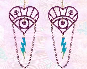 Purple Petrol Lightening Bolt Tassel And Chain Earrings