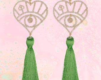 Green Silk Tassel and Gold Glitter Earrings