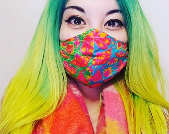 Face Mask for festivals from dust, hygiene, washable, handmade in the UK with high quality cotton. Adult and child.