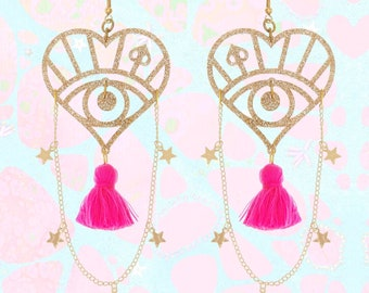Star Chain Earrings With Pink Tassels