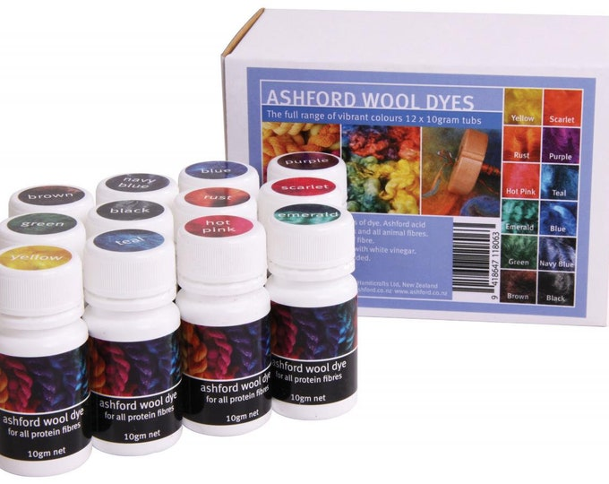 Ashford Wool Dye Collection 12 x 10gm tubs, colour card & instructions