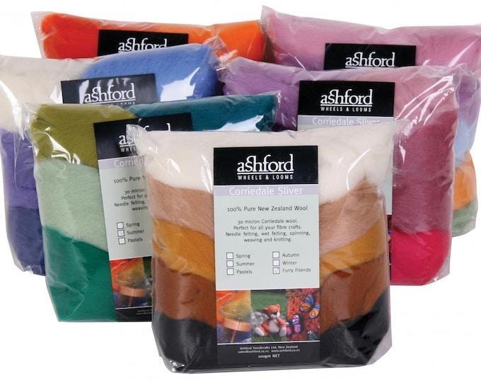 Ashford CORRIEDALE SLIVER PACKS - 100g  -7 Colours per pack