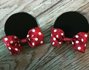 Minnie Mouse hair clips, minnie mouse inspired hair clips, minnie clips