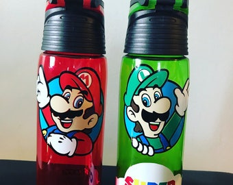 Super Mario Waterbottle, Luigi Waterbottle, mario waterbottle, super mario inspired water bottle, super mario water bottle, mario cup