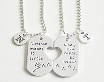 Long distance boyfriend gift, long distance gift for him, long distance couple, distance couple gifts, couple necklace set, girlfriend gift