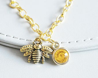 Gold Bee Bracelet, Gold Charm bracelet,  bee bracelet, honey bracelet,Honey bee bracelet, Bumble Bee Gift,Bumble Bee Jewelry, Gold Gift