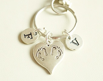 Twins Keychain, Twins Gifts, Twins Keyrings, Gifts For Twins, Twin Sisters, Birthday, Gifts For Twins Sisters, Matching Gifts, Baby Feet