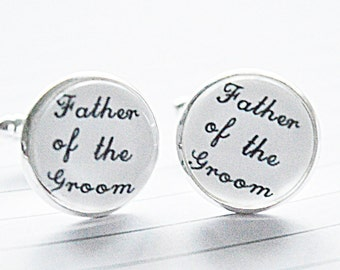 Father of the Groom cufflinks, Father wedding cufflinks, Grooms Dad cufflinks, Wedding father gift, keepsake gift, Father of the bride gift