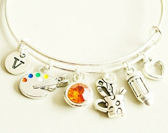 SEIRAA Paint Bracelet Artist Gift Stainless Steel Expandable Bangle Charm Bracelet Gift for Painter