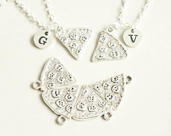 Friends necklace set , Pizza Necklace, Best Friend Necklace set, BFF Gift, Pizza Friendship Necklace, One Slice, Pizza Slice, Pizza Jewelry