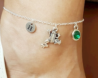 Frog anklet, Frog Anklet for her, Frog Gifts, Personalized Frog gift, Frog Charm, Silver Frog anklet, Jewelry gifts, Animal, Toad,Frog gifts