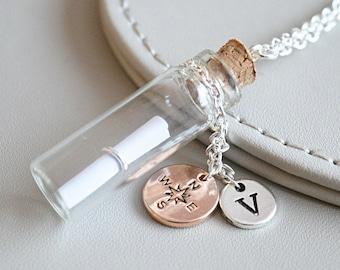 Empty Bottle Necklace, Vial Necklace,Empty cylindrical Necklace, Empty Bottle Jewelry, Glass Vial, DIY Vial, Fill Your Own Bottle Necklace