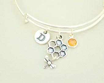 Honey Bee Bracelet, Beehive Bracelet, Bee Charm Bracelet, Bumble bee gift, Bee Gifts, Bee Bangle, Bee jewelry, Bee Pendant,Bee gifts for her