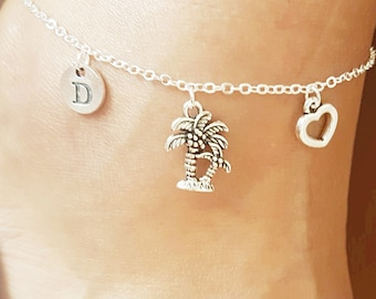 Silver Anklet Palm Charm Vacation Outline Paridise Palm Charm Destination Wedding Beach Anklet Sterling Silver Anklet Palm Tree