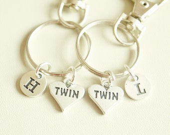 Twins Keychain Set, Twins Keychains, Twins Keyrings, Gifts For Twins, Twin Sisters, Accessories For Twins Sisters, Matching Gifts For Twins