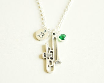 Trumpet Necklace, Personalized Trumpet Gifts, Trumpet Player Gift, Trumpet Jewelry, Trumpet Player, Musical Instrument, Music Band, Brass