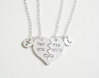 his and her gift couples necklace set his hers necklaces etsy