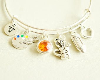 Artist Gift Bracelet Gifts For Artists Birthday Personalized Palette Painter Jewelry Paint