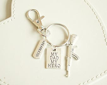 Army Dad Gift My MY Hero Father Birthday Military Key Ring Christmas GiftGift Fro Daughter GunArmy
