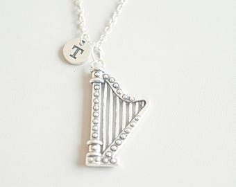 Pewter Harmony Jewelry Harp Necklace Necklaces & Pendants
