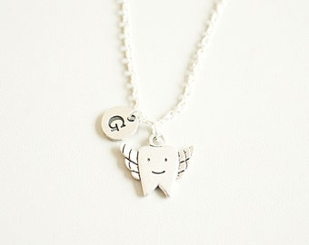 Tooth Necklace, Tooth Fairy Gift, Tooth Gift, Friend birthday gift, Tooth jewelry, Funny gift for her, Dentist gift, Dental, Graduation gift