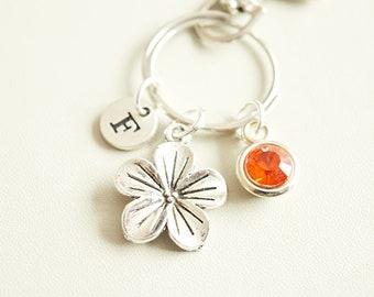 Flower Charm gift, Flower keychain, Flower keyring, Woodland keychain, Gardener keyrings, Gifts for her birthday, Birthday gifts for friend
