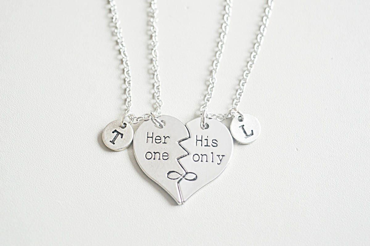 f016c0a31b His and her gift, Couples necklace set, his hers necklaces, couple pendant,  Broken Heart necklace ,boyfriend girlfriend gift, heart set