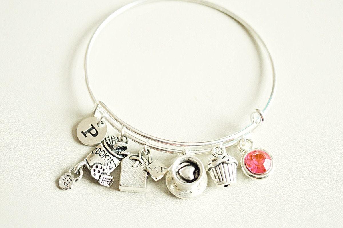I Love Tea English Tea Time Silver Tea Time Bangle Charm Bracelet Tea Jewelry Teapots and Teacups English Tea Time Gift for Her