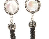 Coin Pearl with Crystal Accents Fringe Earrings